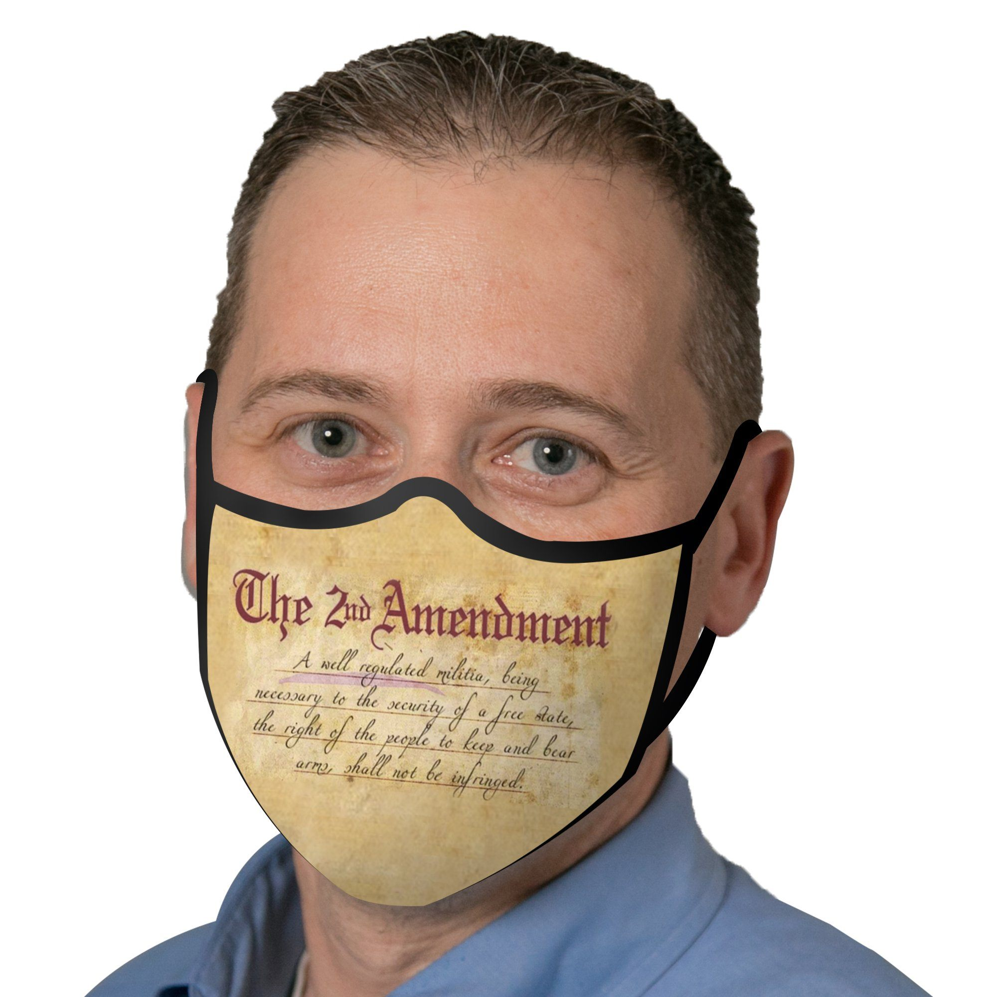 Man wearing a RainCaper Second Amendment Reusable Fabric Face Mask.