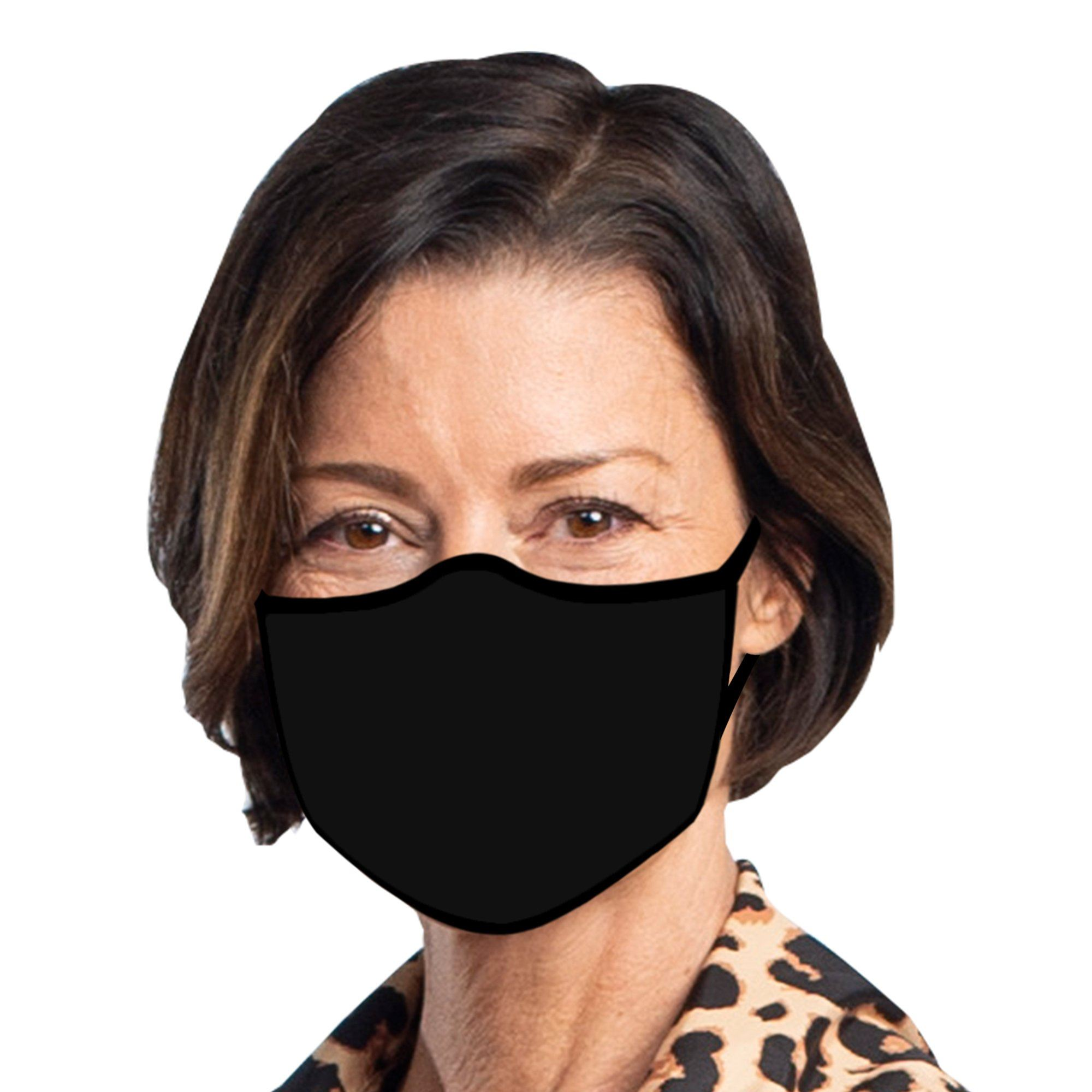 Woman wearing a Basic Black Reusable Fabric Face Mask.