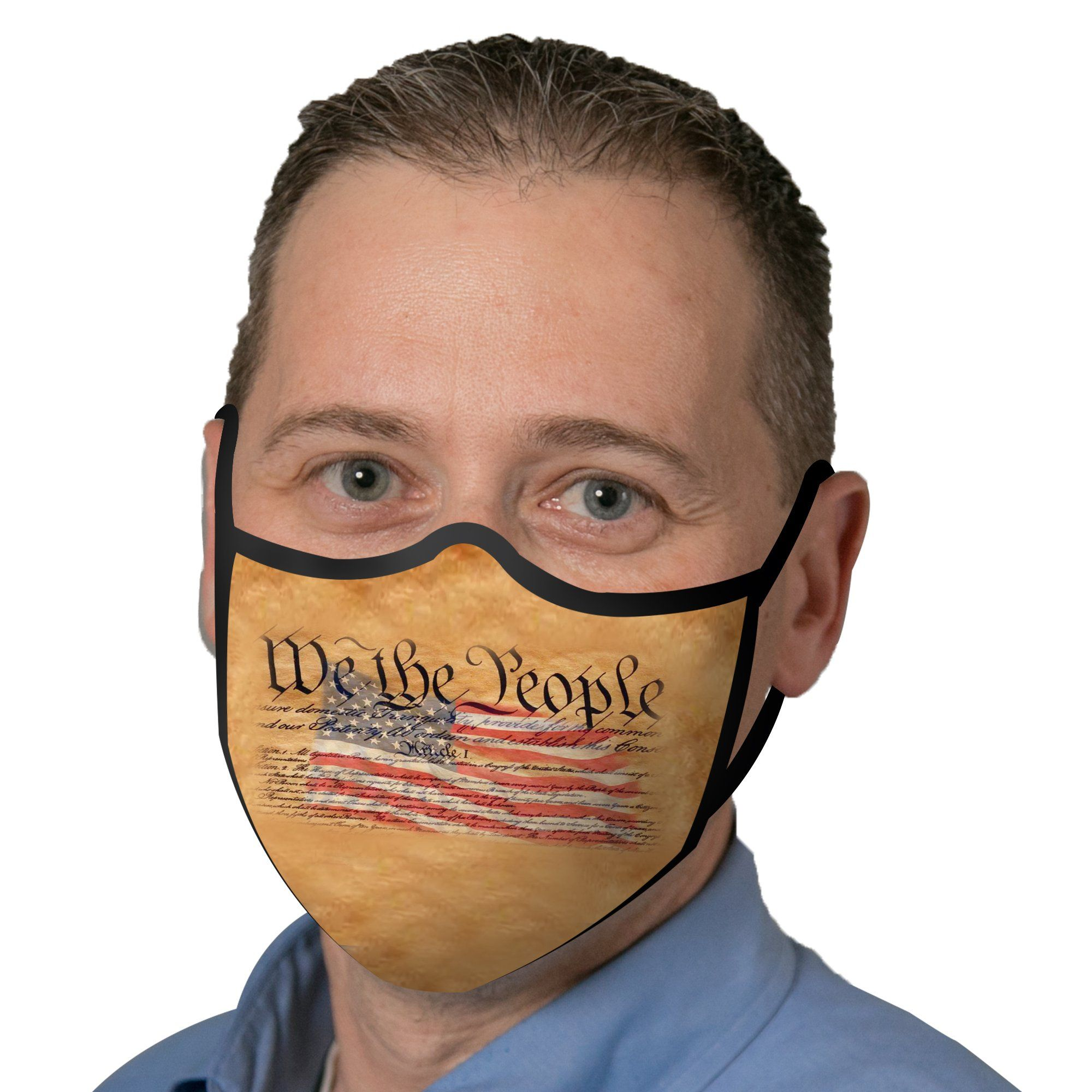 Man wearing a RainCaper We the People Reusable Fabric Face Mask.