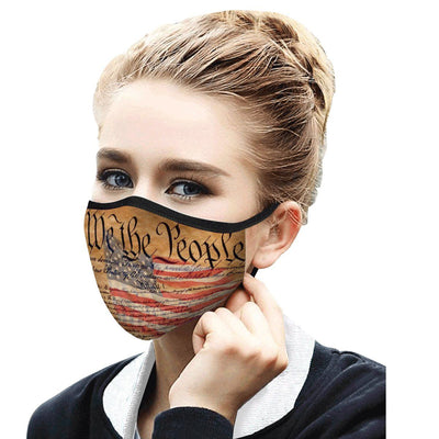 Woman wearing a RainCaper We the People reusable non-medical cloth face mask.