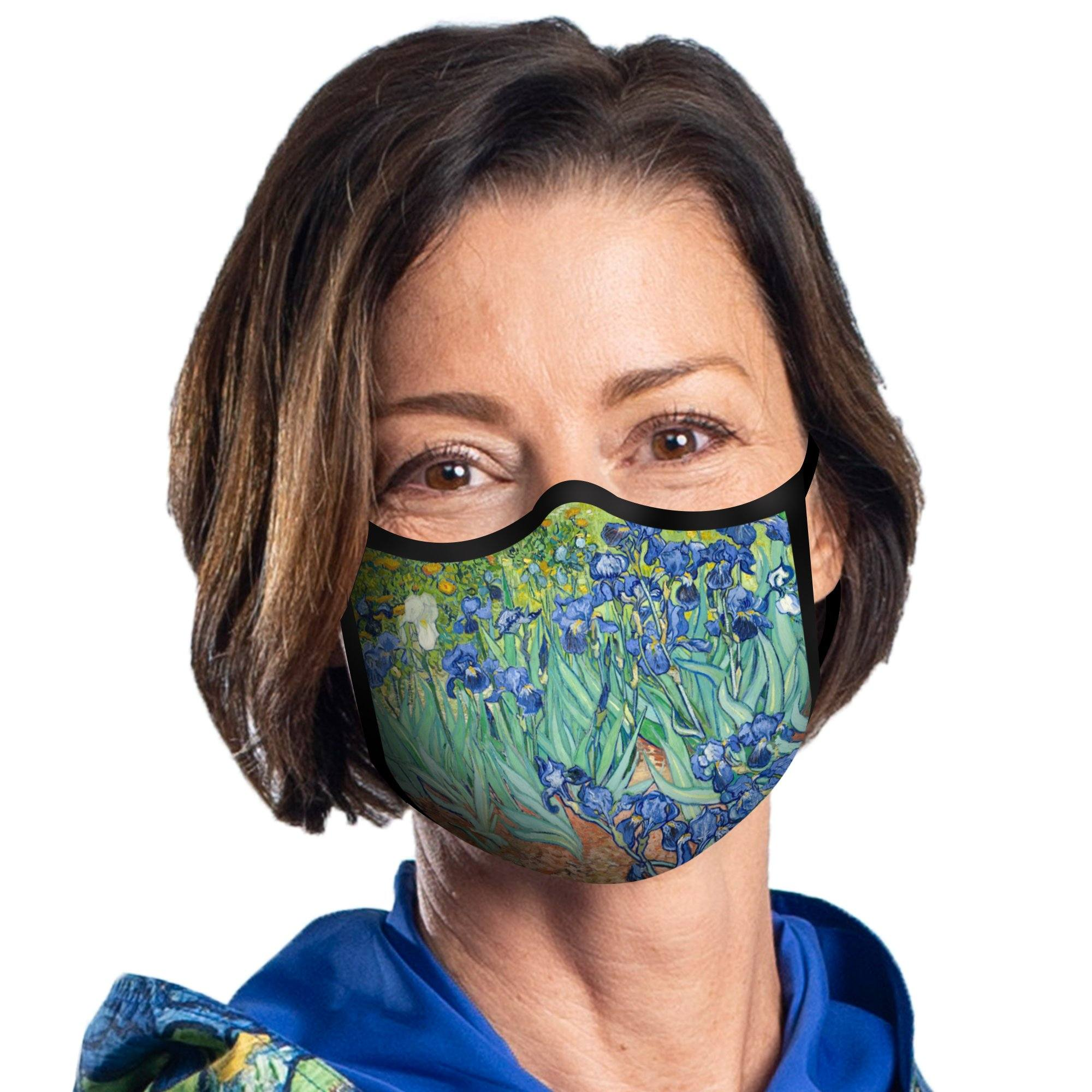 Woman wearing a RainCaper van Gogh Irises reusable non-medical cloth face mask.