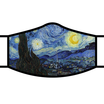 RainCaper van Gogh Starry Night fabric face mask with black trim and adjustable ear loops.