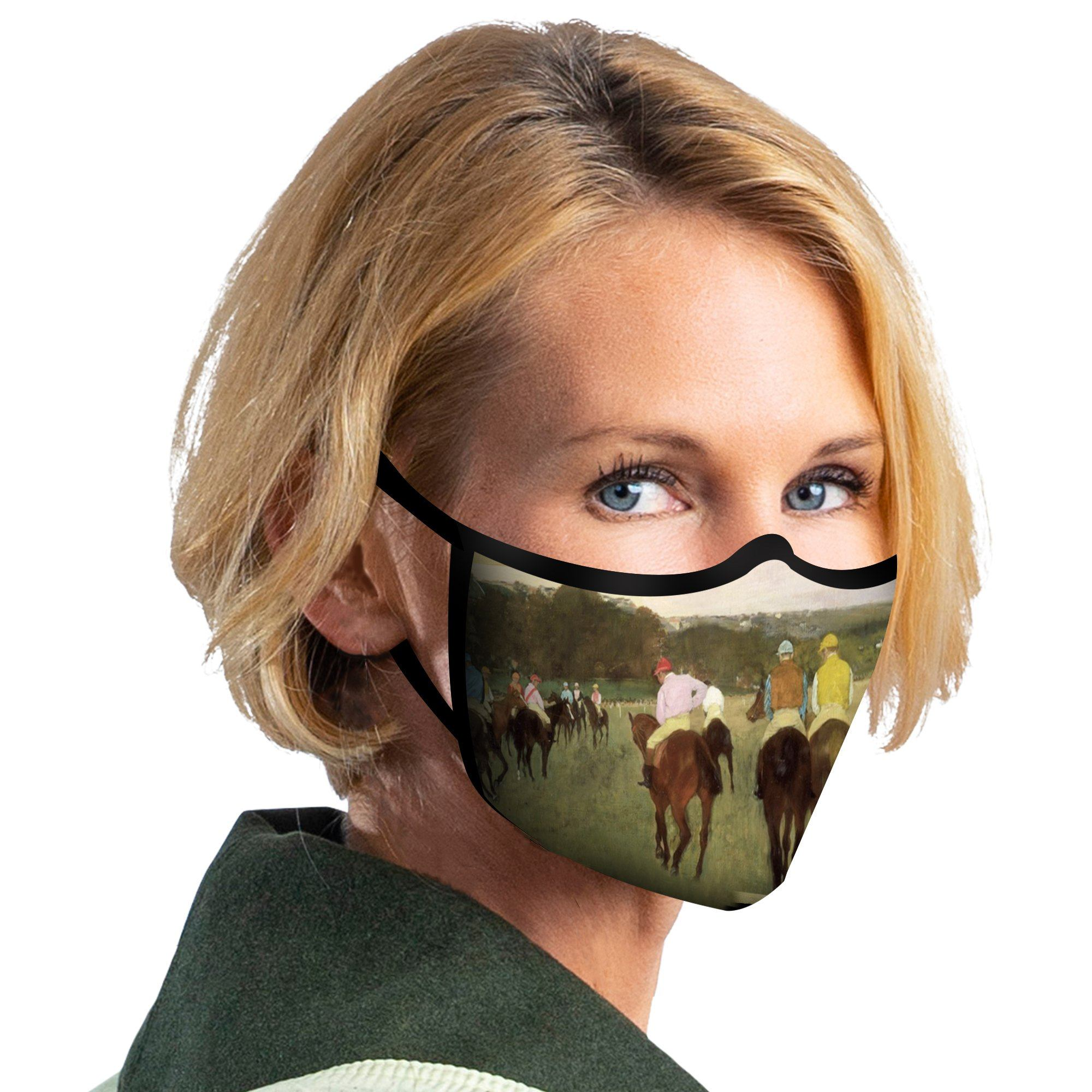 Woman wearing a RainCaper Degas Racehorses at Longchamp Reusable Fabric Face Mask.