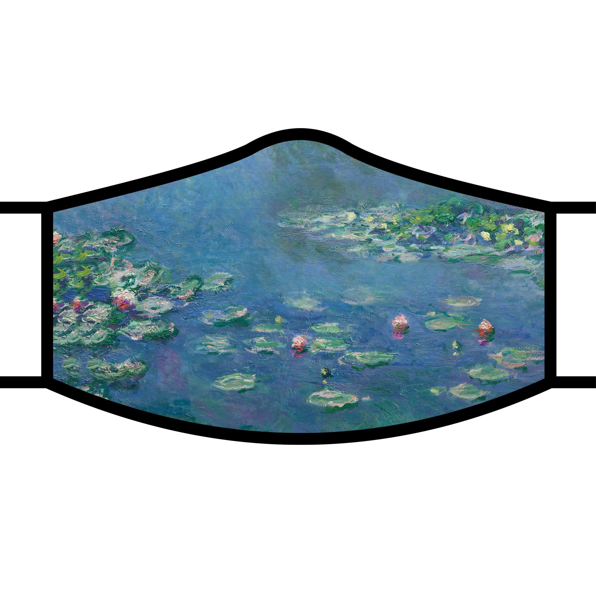 Woman wearing a RainCaper Monet Water Lilies Reusable Fabric Face Mask.
