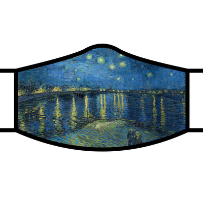 RainCaper van Gogh Starry Night Over the Rhone fabric face mask with black trim and adjustable ear loops.