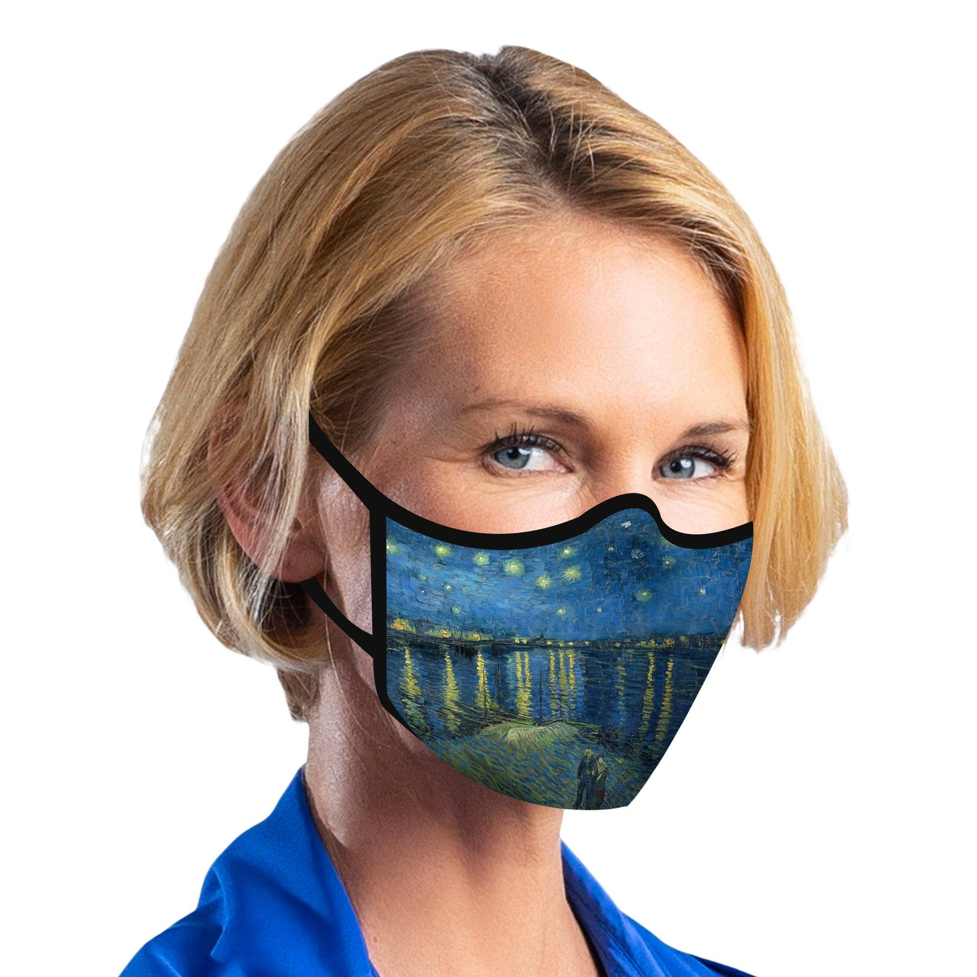 Woman wearing a RainCaper van Gogh Starry Night Over the Rhone reusable non-medical cloth face mask.
