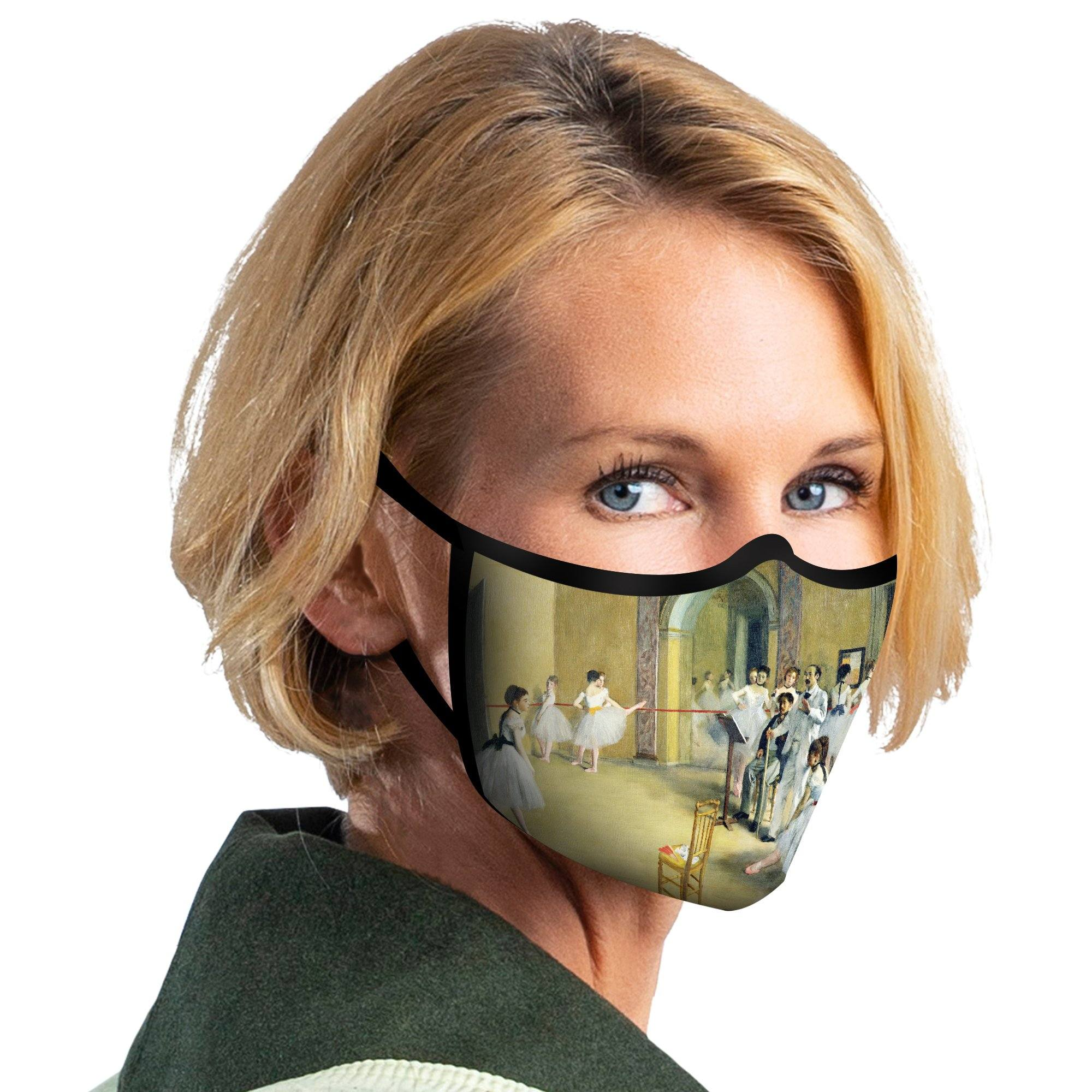 Woman wearing a RainCaper Degas The Dance Foyer Reusable Fabric Face Mask.
