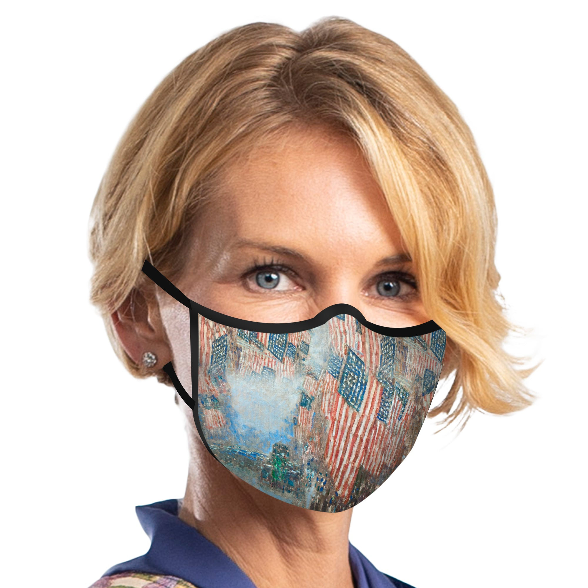 Woman wearing a RainCaper Hassam Fourth of July reusable non-medical cloth face mask.