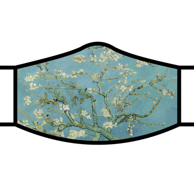 RainCaper van Gogh Almond Blossom fabric face mask with black trim and adjustable ear loops.