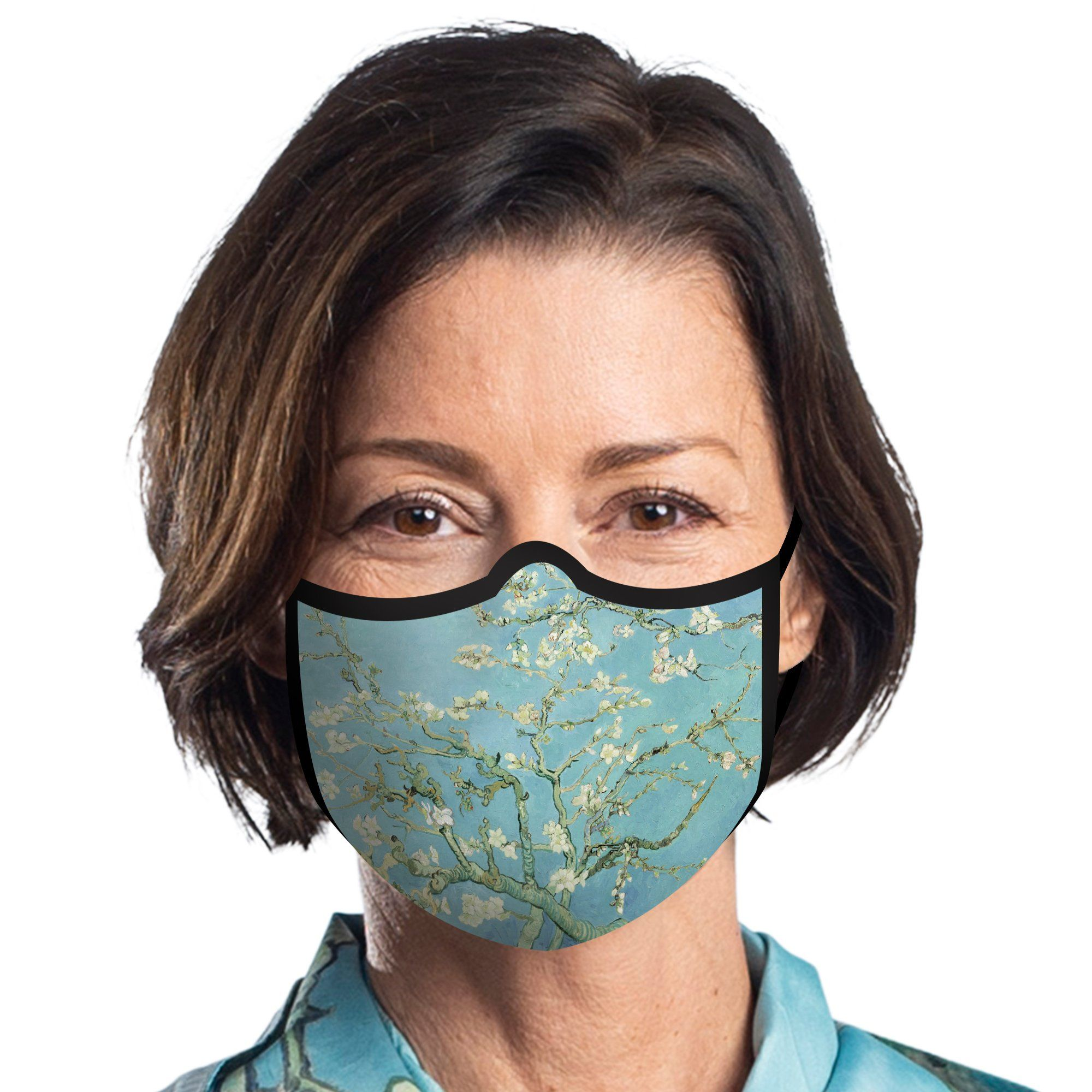 Woman wearing a RainCaper van Gogh Almond Blossom reusable non-medical cloth face mask.