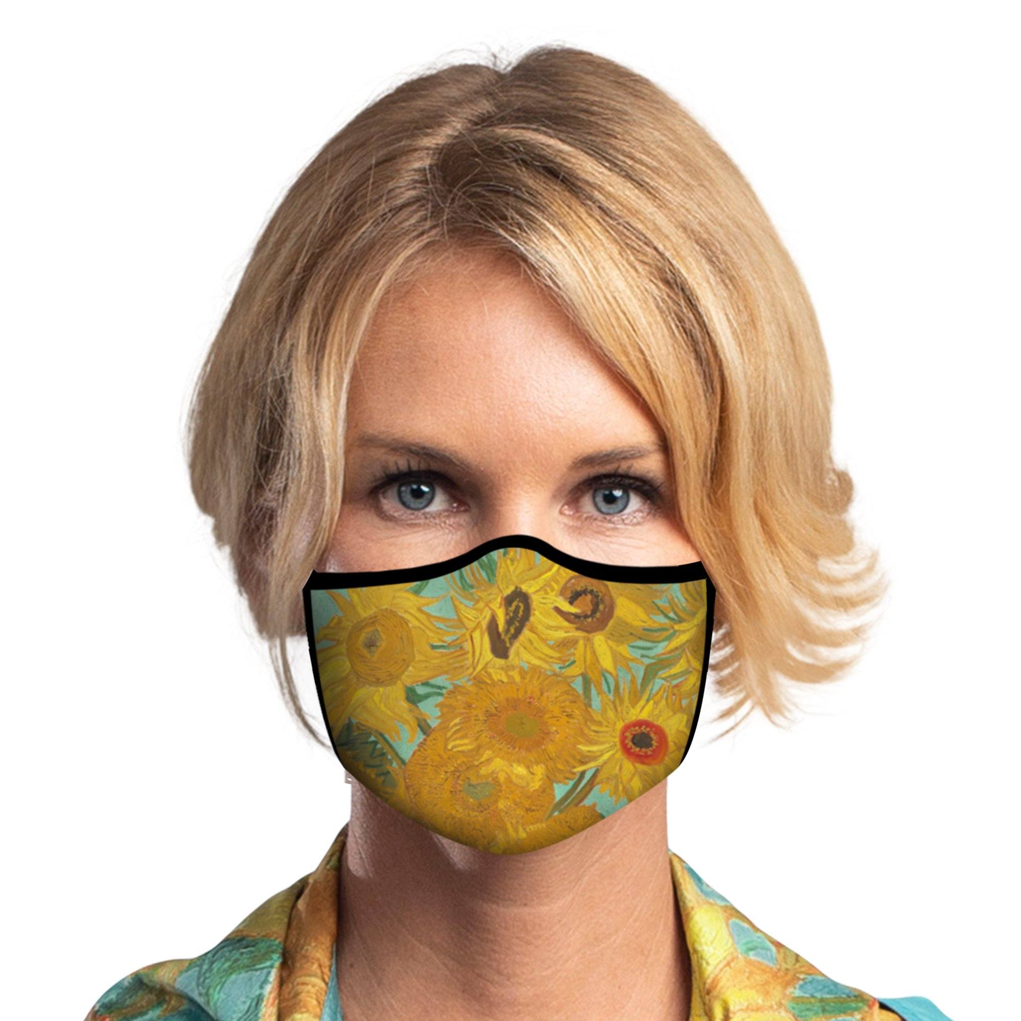 Woman wearing a RainCaper van Gogh Sunflowers Reusable Fabric Face Mask.