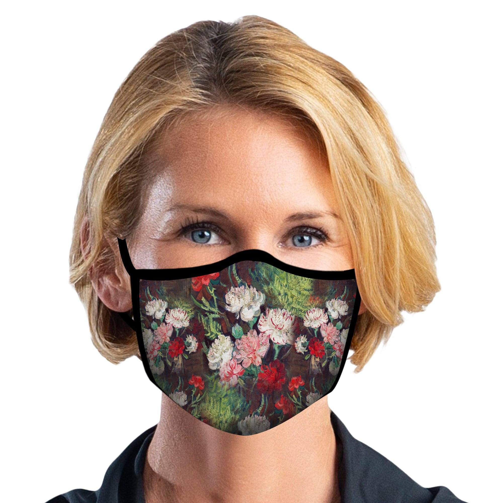Woman wearing a RainCaper van Gogh Carnations Reusable Fabric Face Mask.