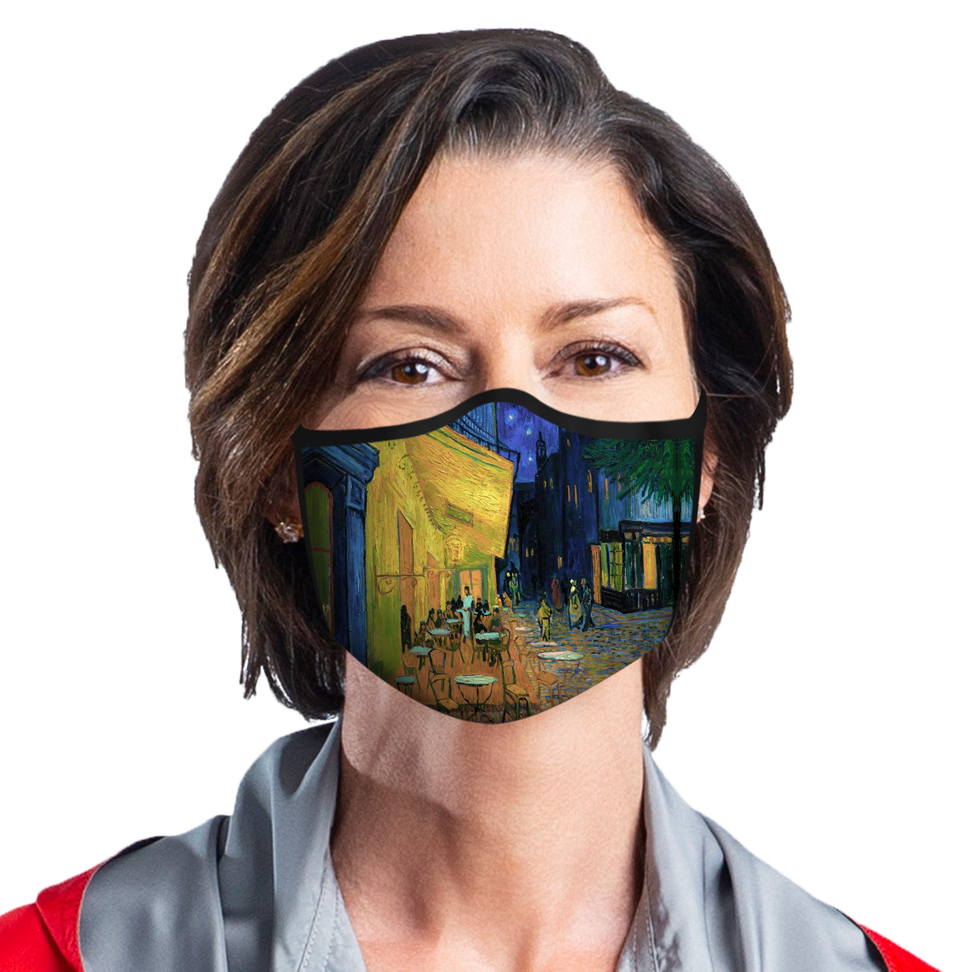 Woman wearing a RainCaper van Gogh Café Terrace at Night Reusable Fabric Face Mask.