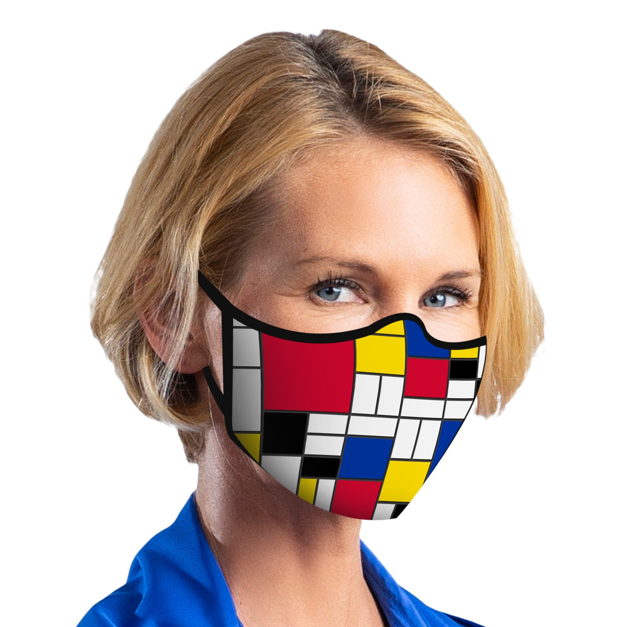 Woman wearing a RainCaper Mondrian Composition II reusable non-medical cloth face mask.