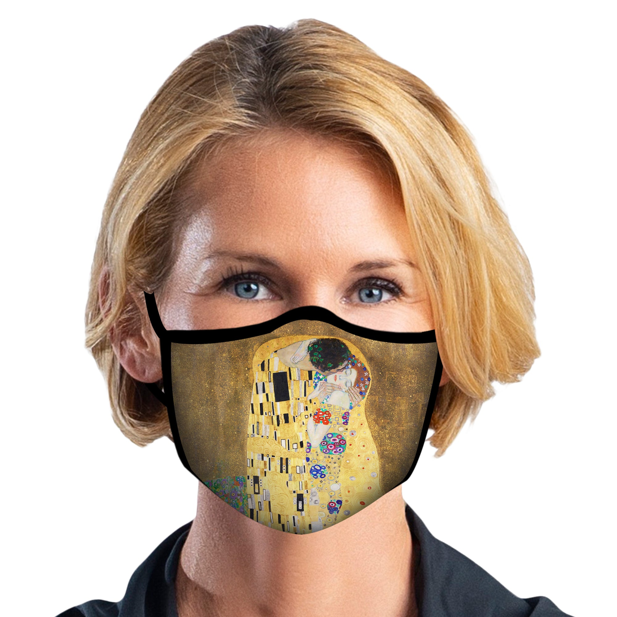 Woman wearing a RainCaper Klimt The Kiss Reusable Fabric Face Mask.