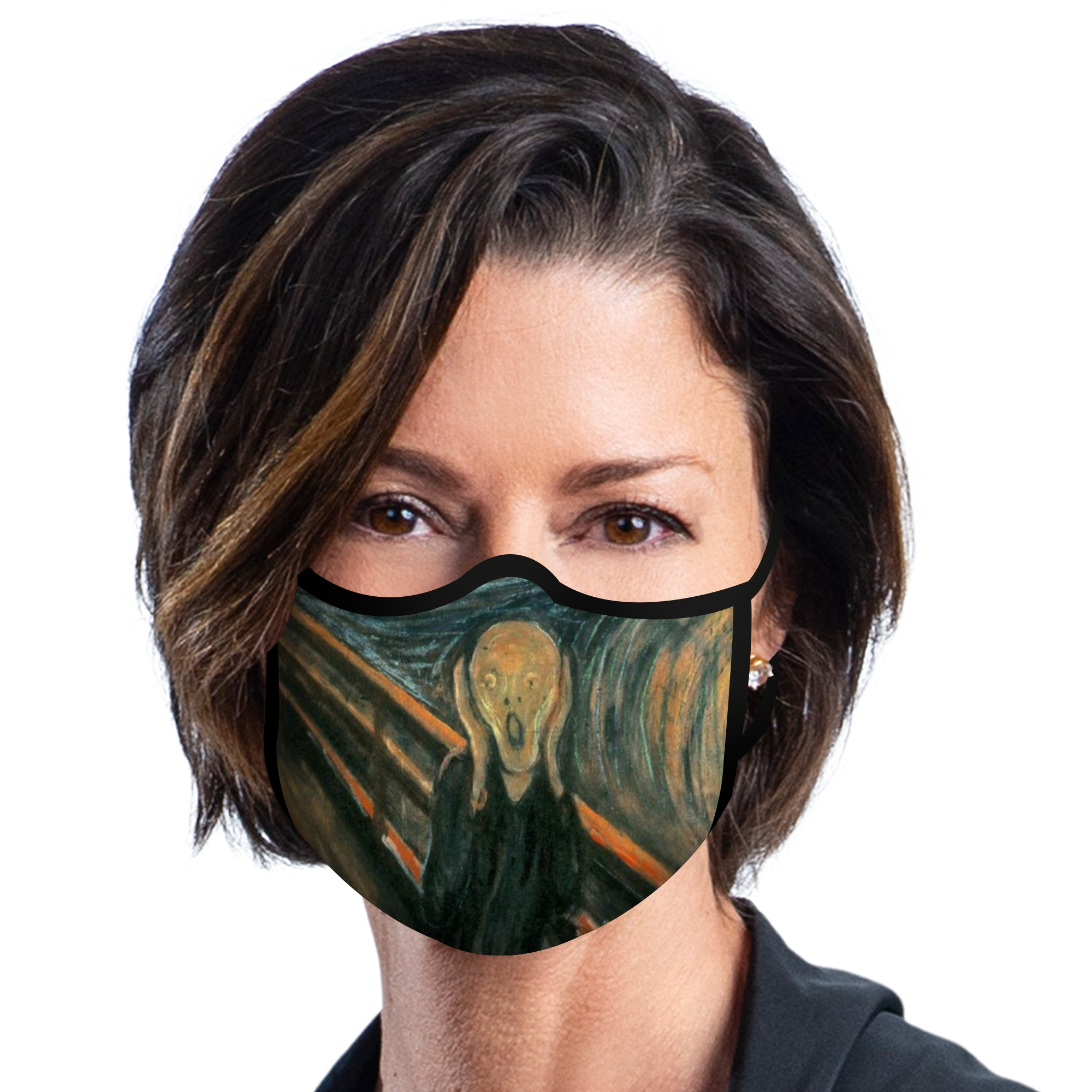 Woman wearing a RainCaper Munch The Scream of Nature Reusable Fabric Face Mask.