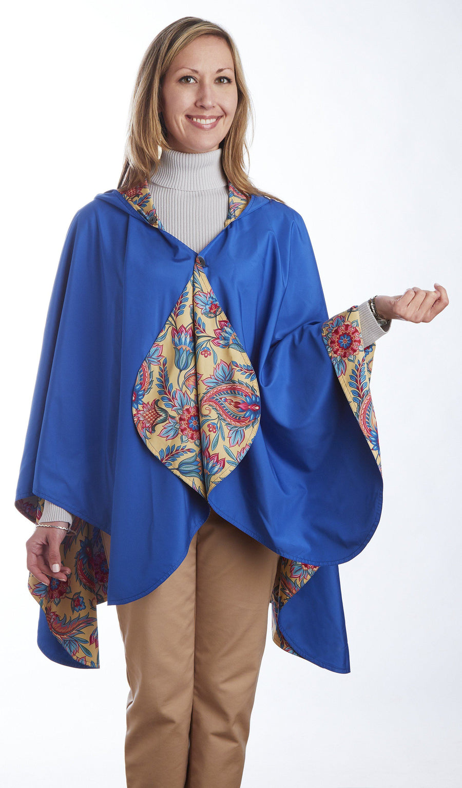 Cobalt Blue & Floral - hooded waterproof reversible rain cape poncho