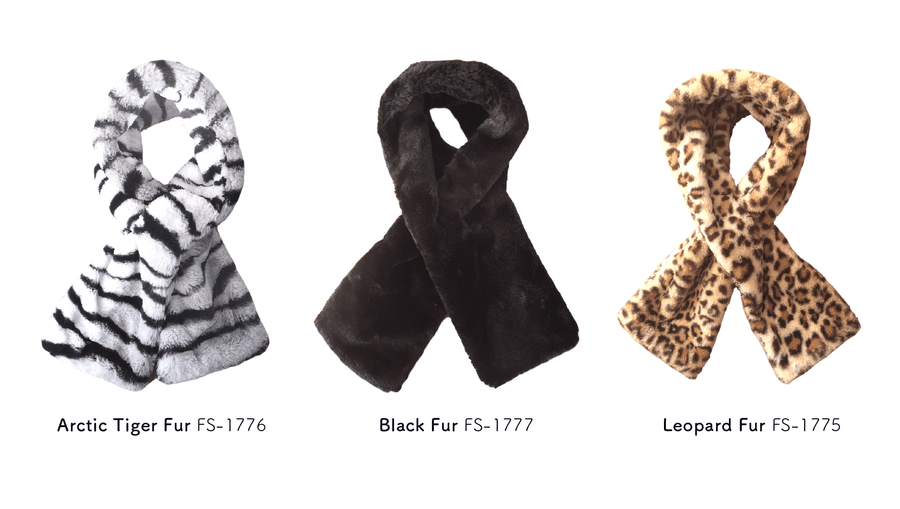 FurCaper Pull-Through Scarf: Black Faux-Fur