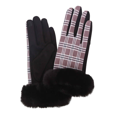 Pair of black, brown and white tartan plaid texting gloves with black fake fur cuffs. Top of gloves are printed; body of gloves are black