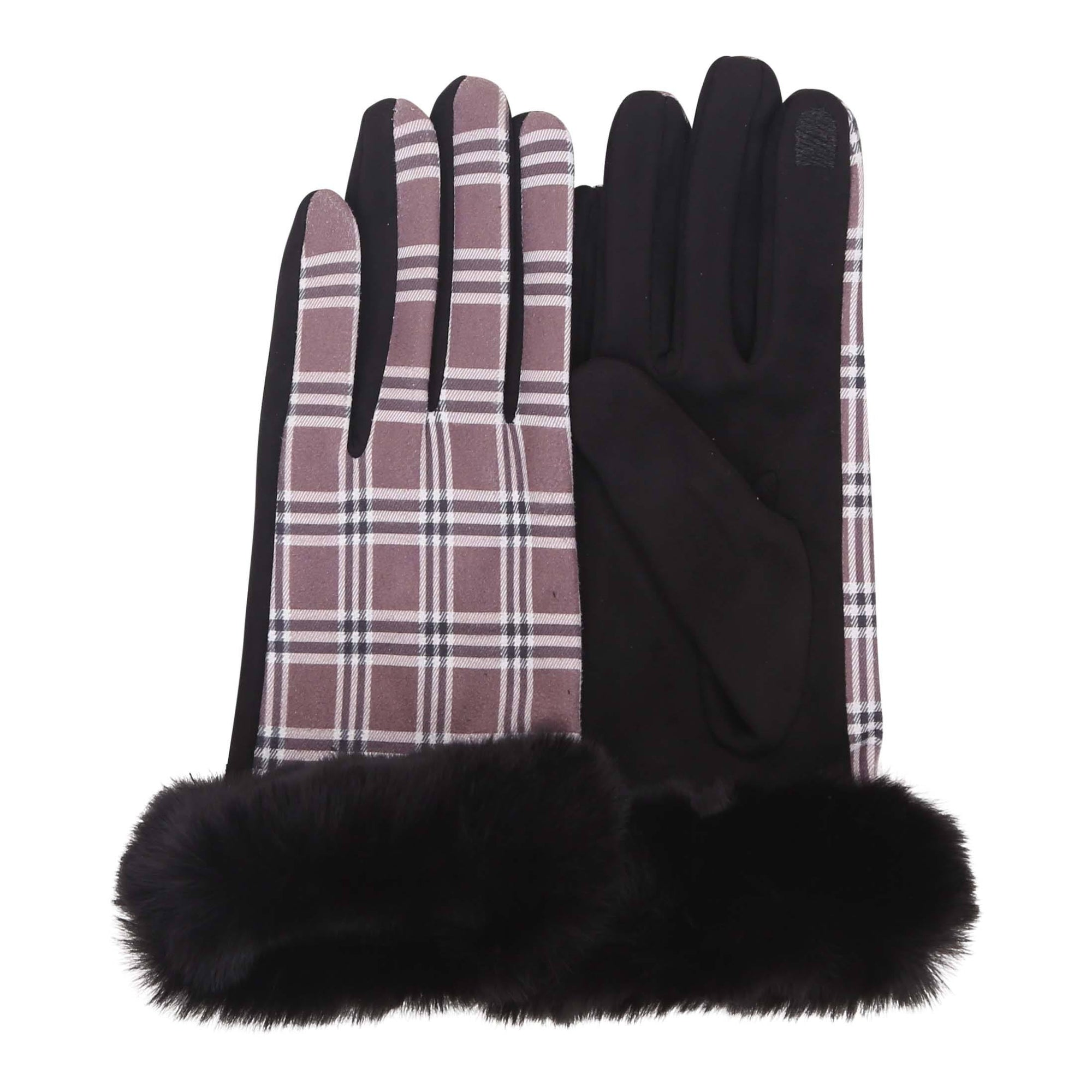 Black & Coco Plaid Fur-Trimmed Texting Gloves