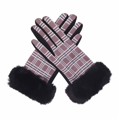 Pair of black, brown and white tartan plaid texting gloves with black fake fur cuffs