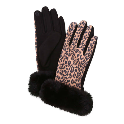 Pair of Black and Leopard print texting gloves with black fake fur cuffs. Top of gloves are printed; body of gloves are black.
