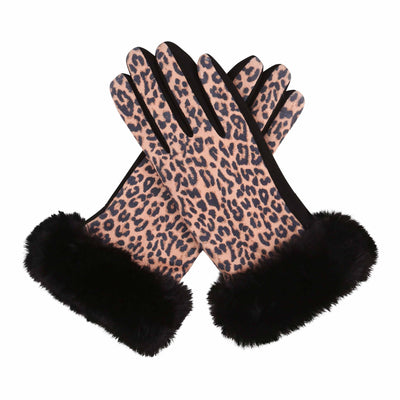 Pair of Black and Leopard print texting gloves with black fake fur cuffs.
