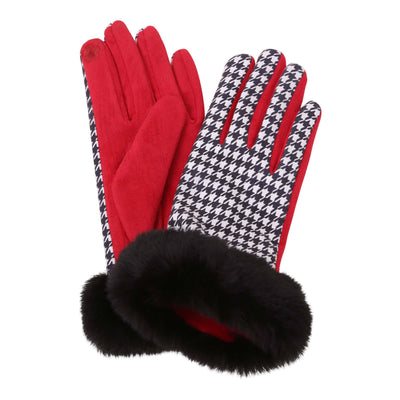 Pair of black and white houndstooth texting gloves with black fake fur cuffs. Top of gloves are printed; body of gloves are red