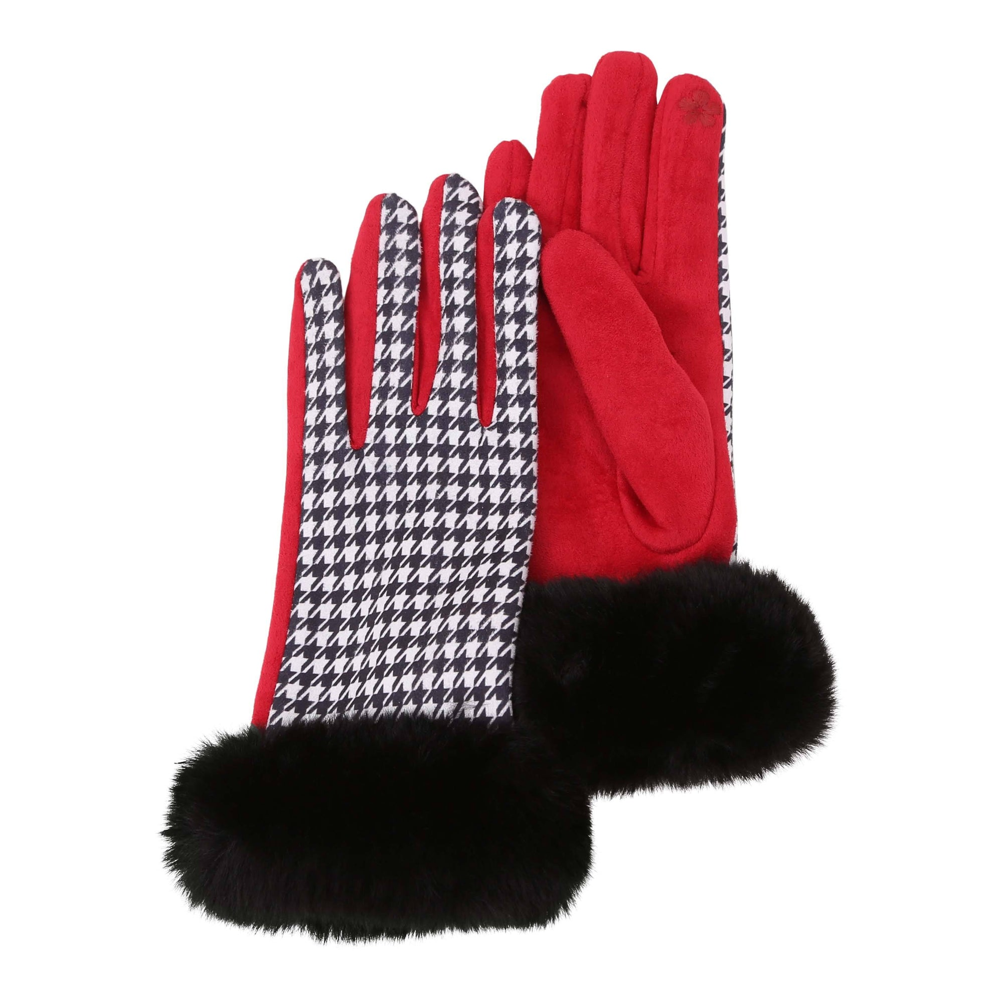 Pair of crimson, black and white houndstooth texting gloves with black fake fur cuffs.