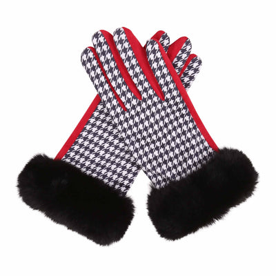 Pair of black and white houndstooth and red texting gloves with black fake fur cuffs