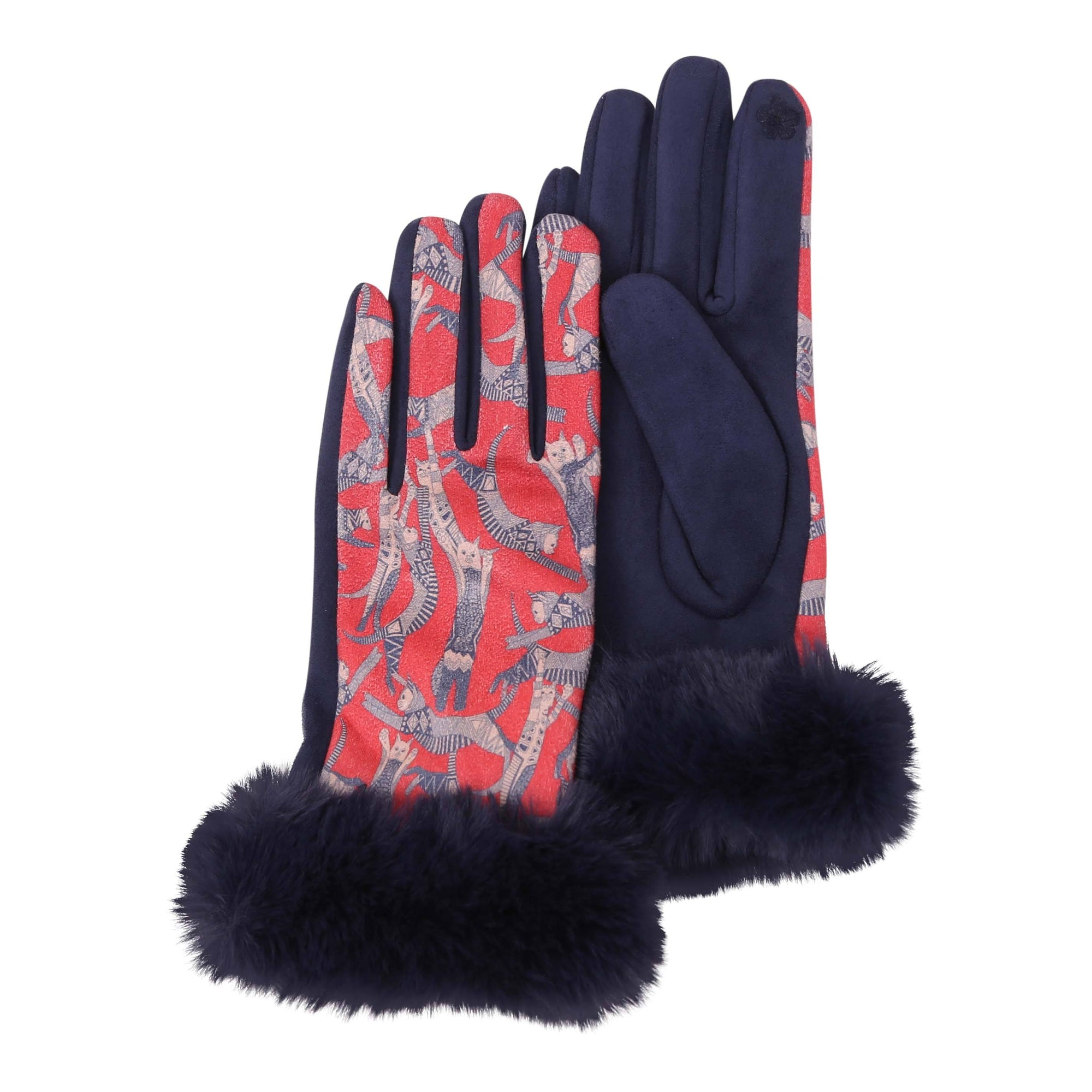 Pair of Navy and Cool Cats print texting gloves with black fake fur cuffs.