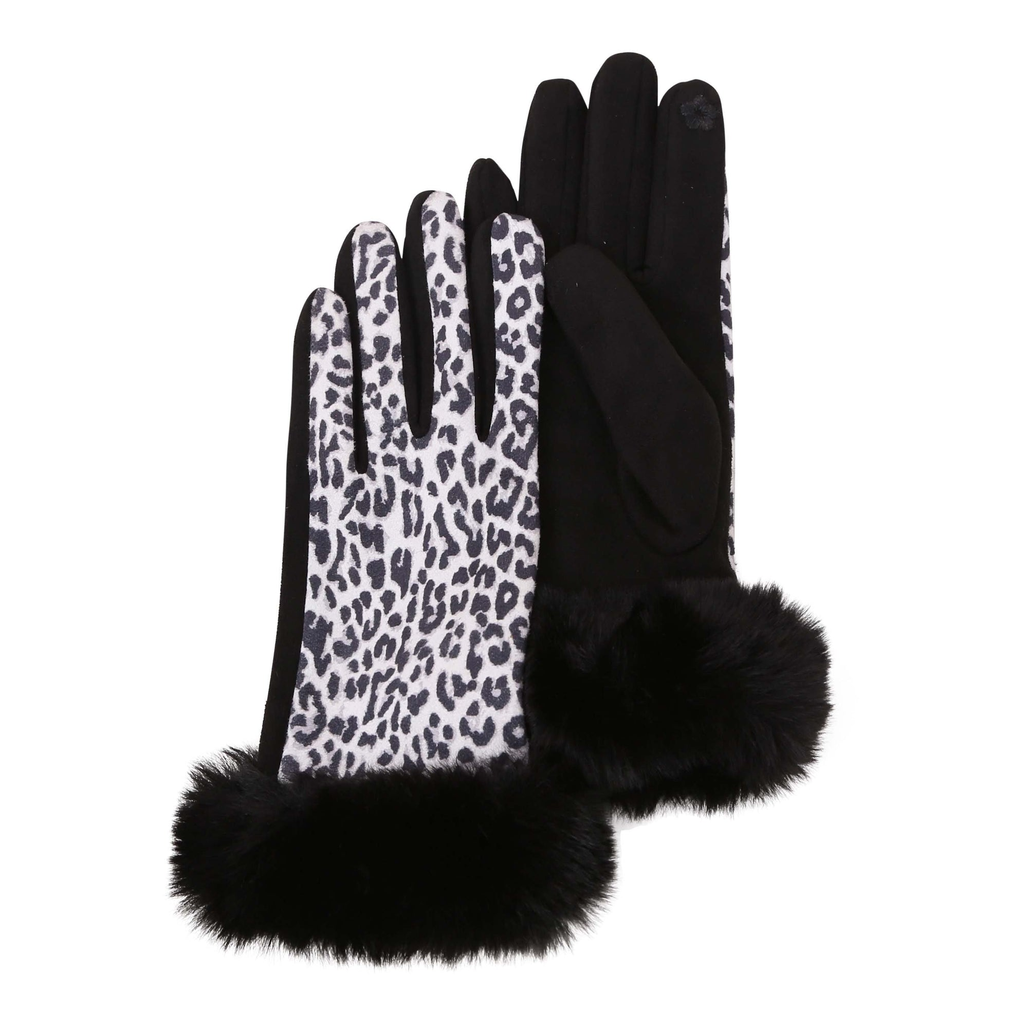 Pair of black and white animal print texting gloves with black fake fur cuffs