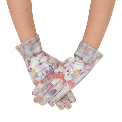Pair of buttery-soft taupe and multi-color Prendergast Umbrellas in the Rain print texting gloves.