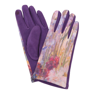 Pair of multi-color Tiffany Peonies and Iris print texting gloves. Top of gloves are printed; body of gloves are velvety-soft violet.