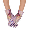 Pair of velvety-soft violet and multi-color Tiffany Peonies and Iris print texting gloves.