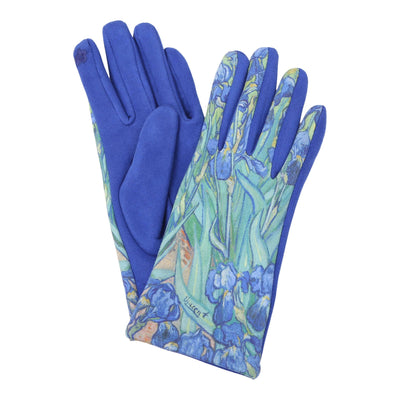 Pair of multi-color multi-color van Gogh Irises print texting gloves. Top of gloves are printed; body of gloves are buttery-soft blue.