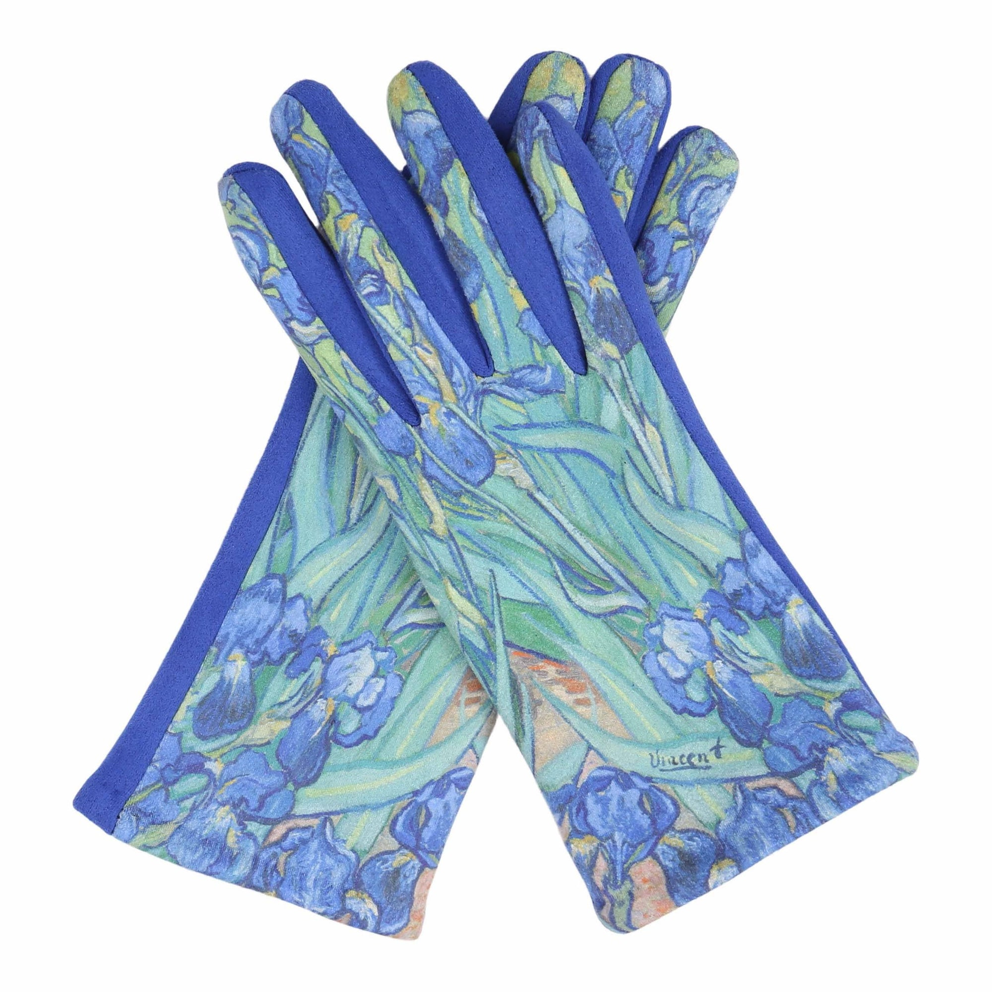 Pair of buttery-soft blue and multi-color van Gogh Irises print texting gloves.