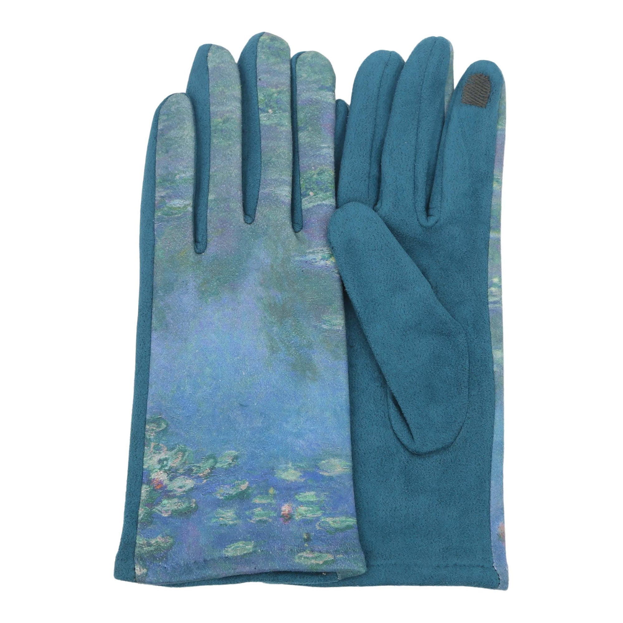 Pair of buttery-soft teal and multi-color Monet Waterlilies print texting gloves.