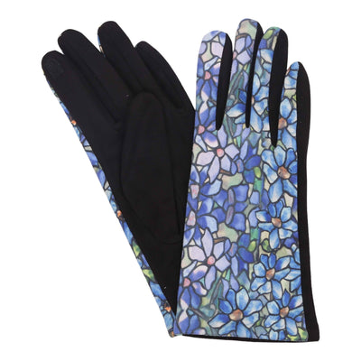 Pair of multi-color Tiffany Clematis print texting gloves. Top of gloves are printed; body of gloves are black.