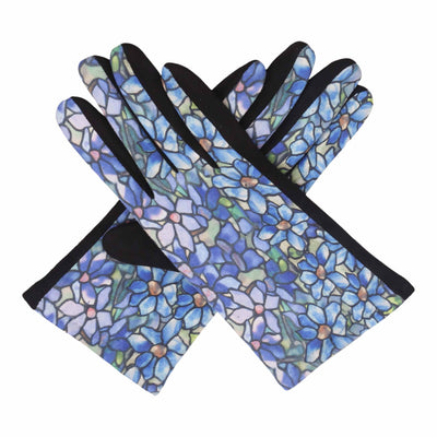 Pair of black and multi-color Tiffany Clematis print texting gloves.