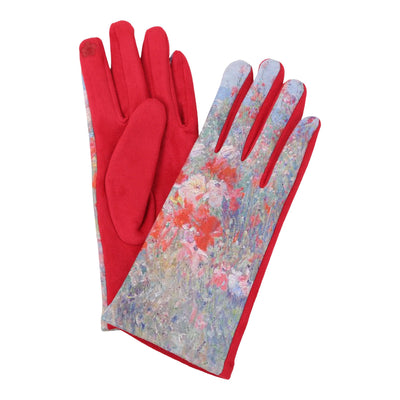 Pair of multi-color Hassam Celia's Garden, Isles of Shoals, Maine print texting gloves. Top of gloves are printed; body of gloves are red.