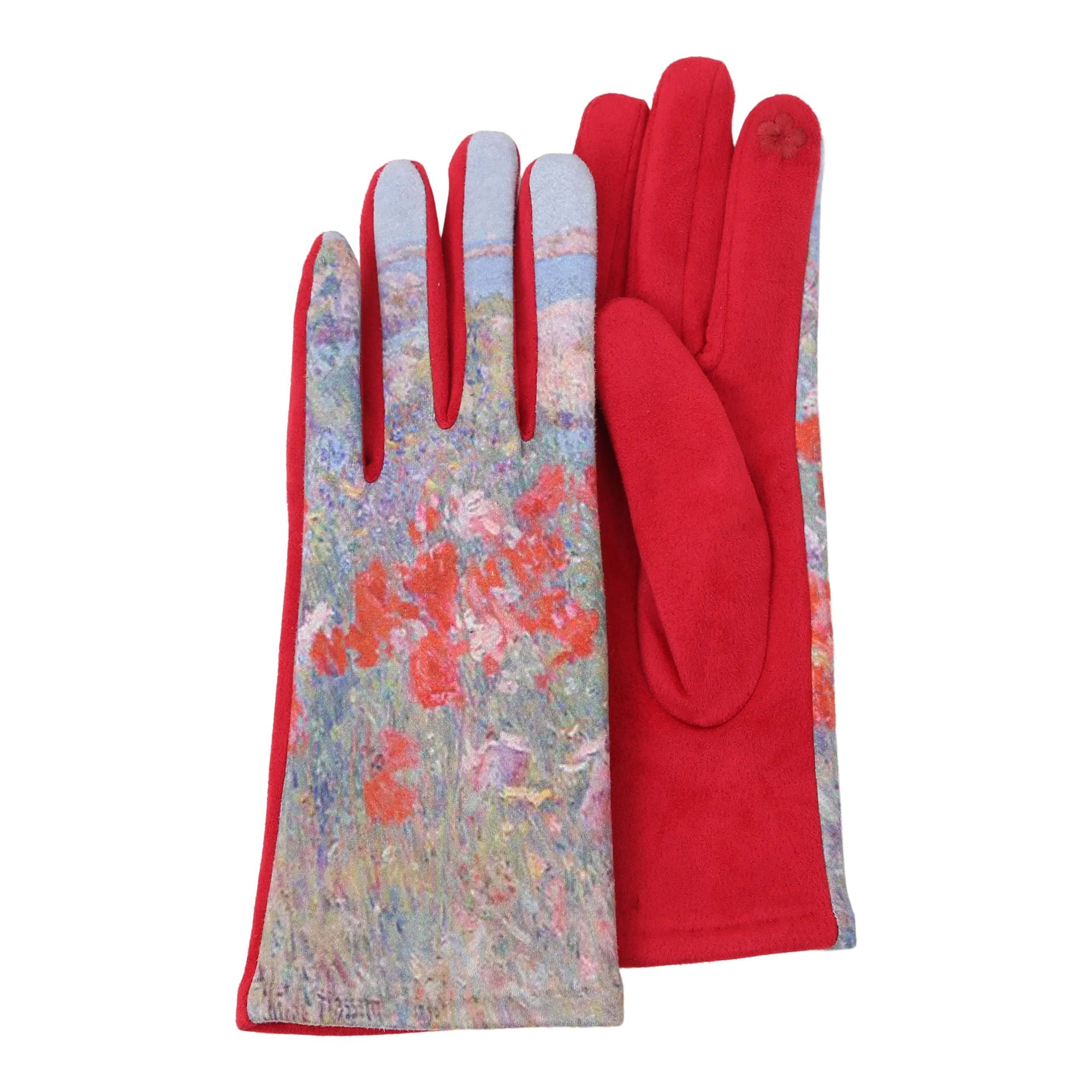 Pair of red and multi-color Hassam Celia's Garden, Isles of Shoals, Maine print  texting gloves.