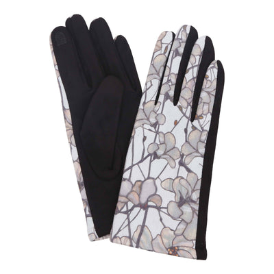 Pair of multi-color Tiffany Magnolia print texting gloves. Top of gloves are printed; body of gloves are black.