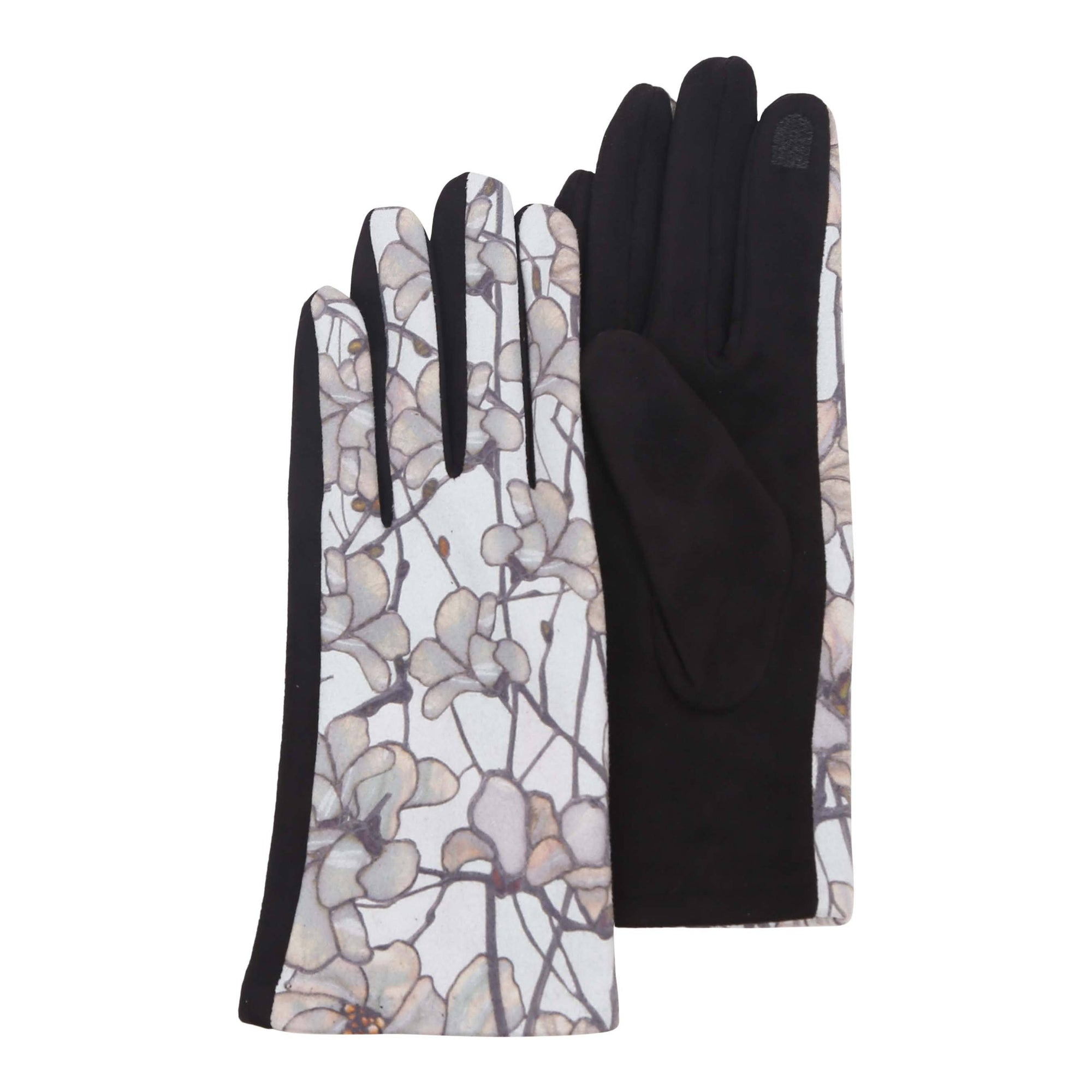 Pair of luxurious black and multi-color Tiffany Magnolia print texting gloves.