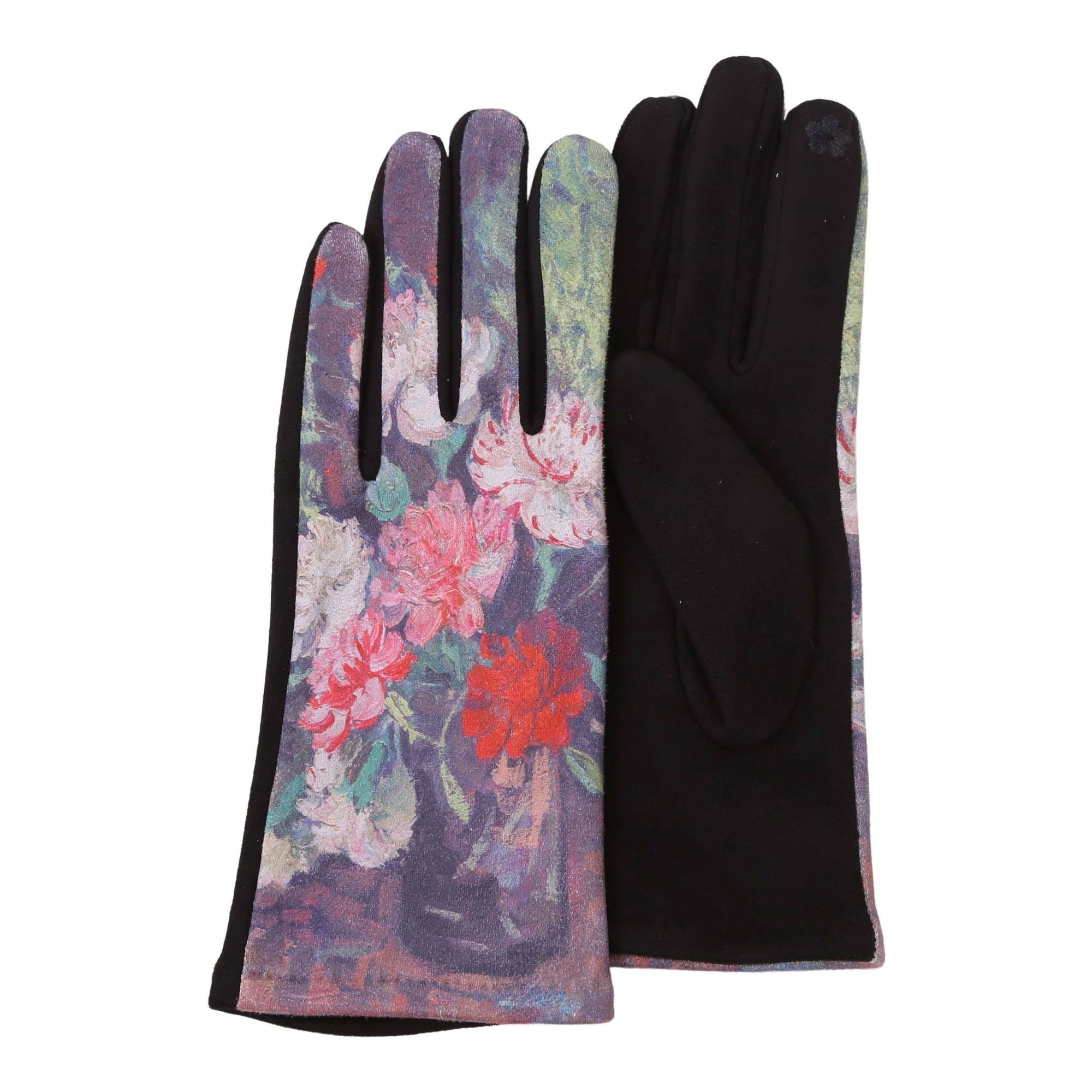 Pair of super-soft black and multi-color van Gogh Carnations print texting gloves.