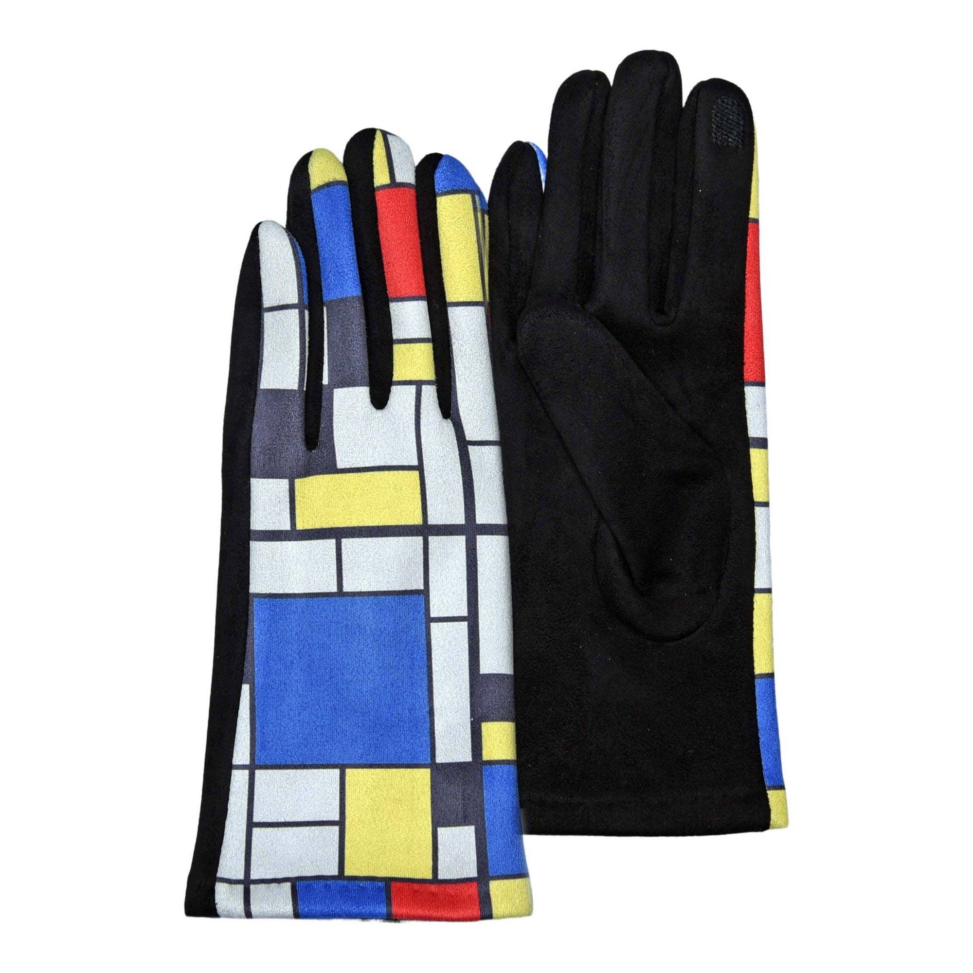 Pair of glorious amber and multi-color Mondrian's Composition II with Red, Blue and Yellow print texting gloves.
