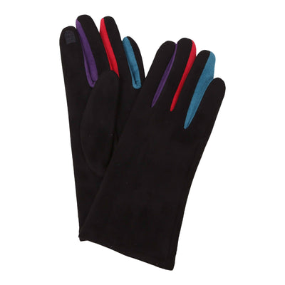 Pair of black texting gloves with colorful gussets between each finger. The body of the gloves are black; the colors are visible between each finger.
