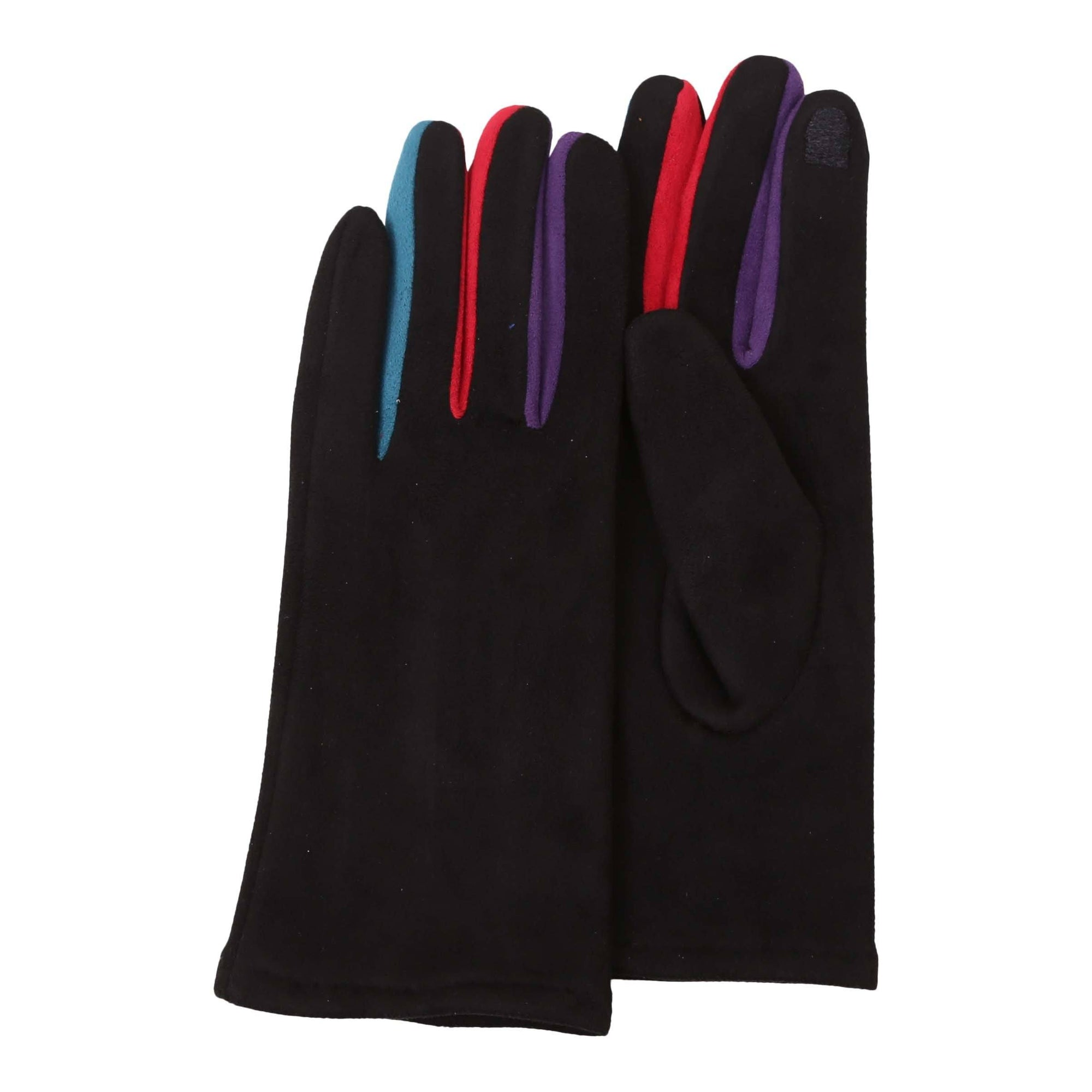 Pair of black texting gloves with colorful gussets between each finger.