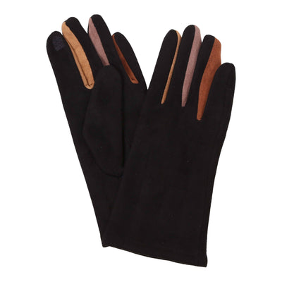 Pair of black texting gloves with neutral colored gussets between each finger. The body of the gloves are black; the neutral colors black, camel, rust, taupe are visible between each finger.