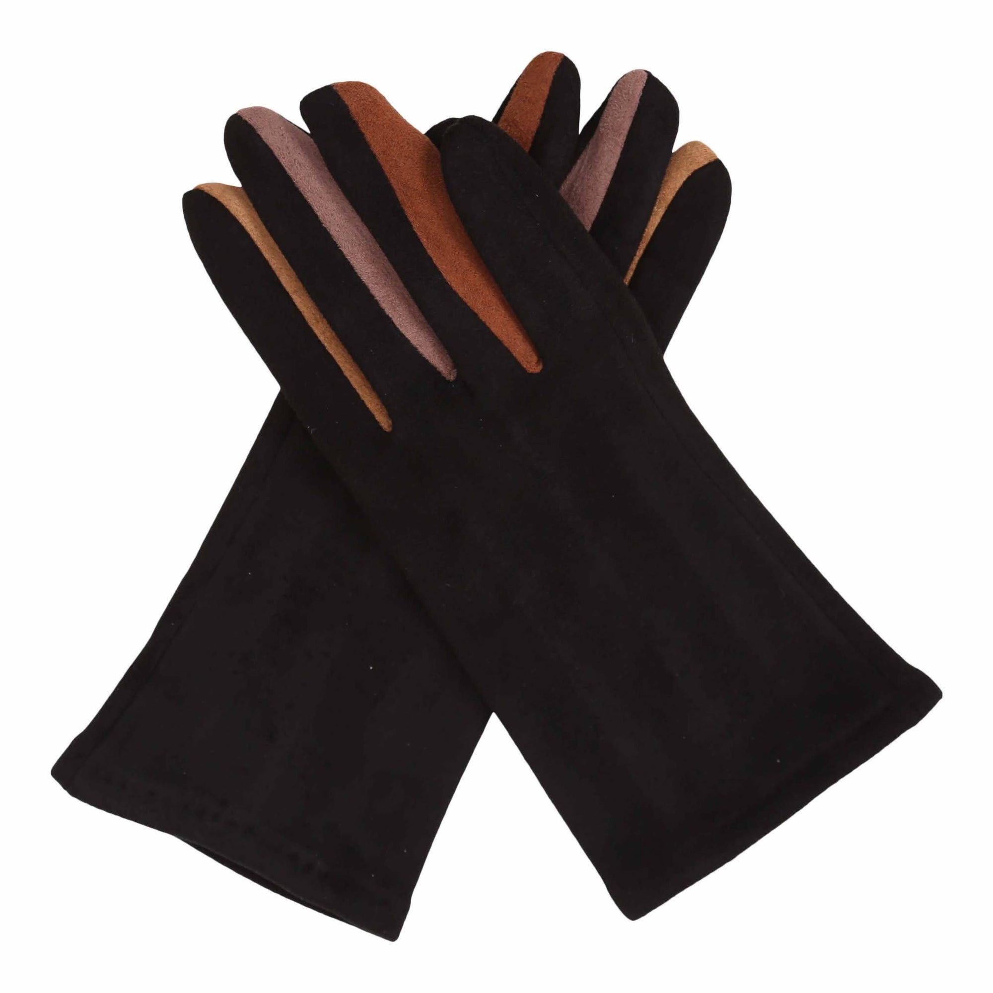 Pair of black texting gloves with neutral colored gussets between each finger.